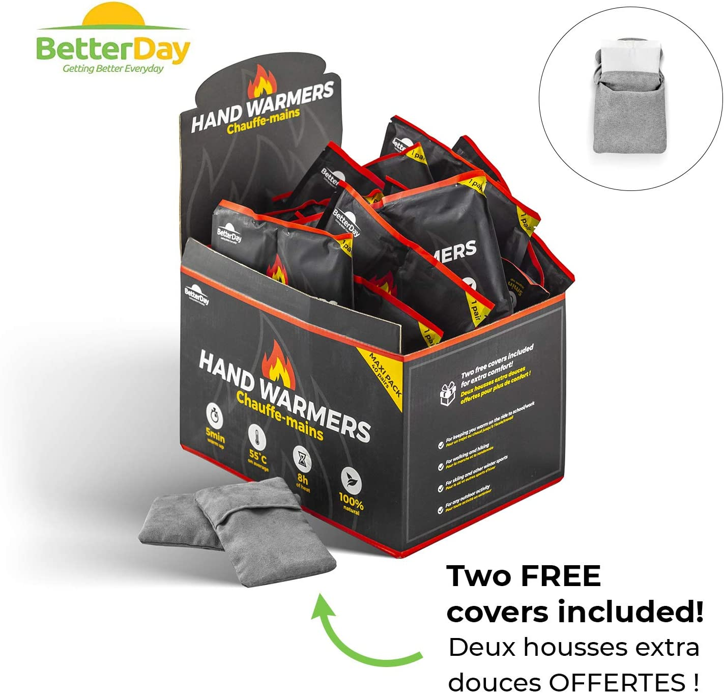 80 Pocket Warmers Hand Warmer Value Pack BetterDay/® Premium Hand Warmers with Covers 100/% Natural 40 pairs Air Activated Warmers up to 62/°C lasts up to 10 hours