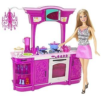 Mattel N Poupée Coffret Cuisine Rose Barbie Amazon - Jeux de barbie cuisine