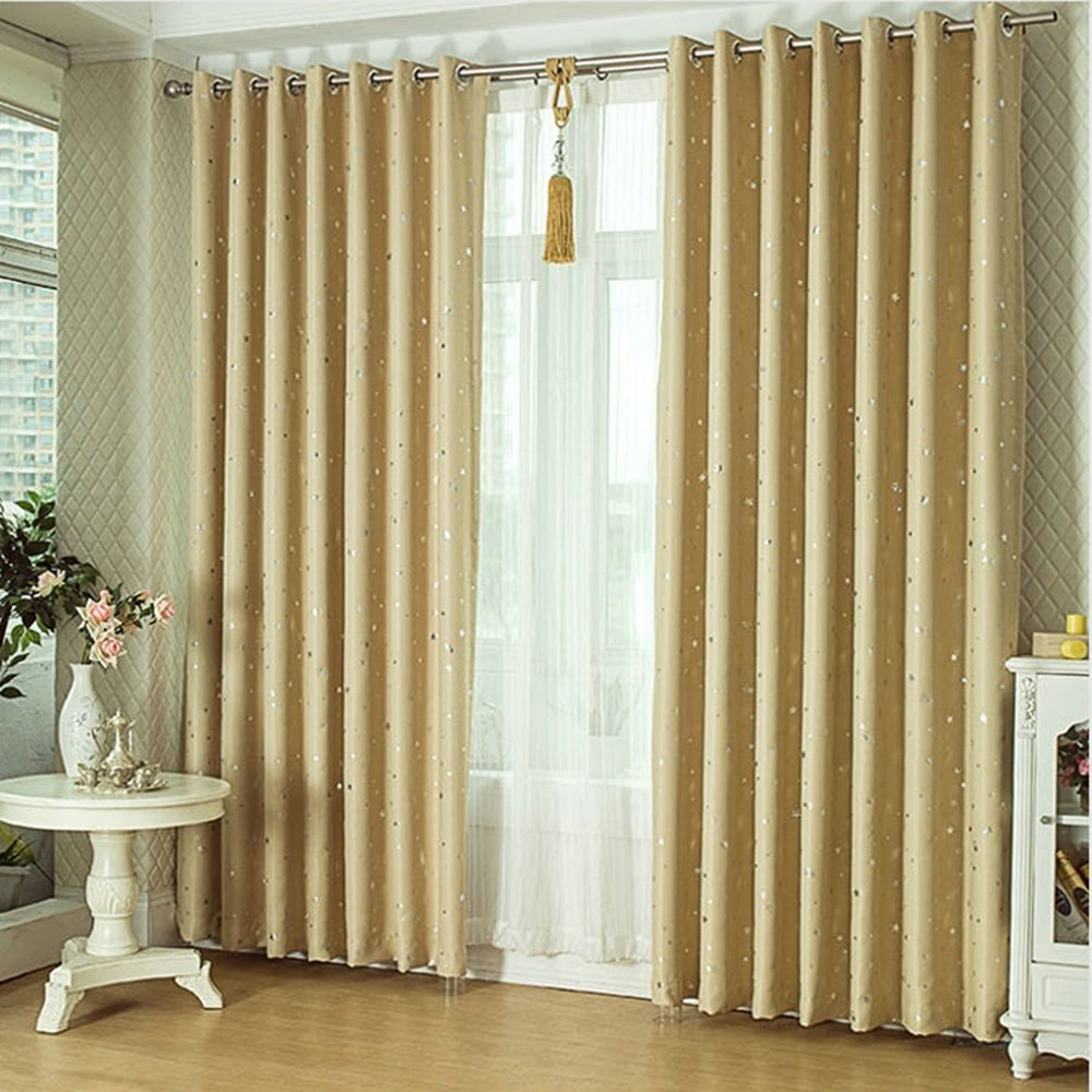 Joyeveri 1 Set of (2 Panels) Modern Thermal Insulating Blackout Stars Windows Curtains 96 Inches(H) x 55 Inches(W) with Eyelets for Living Room Bedroom (Beige)