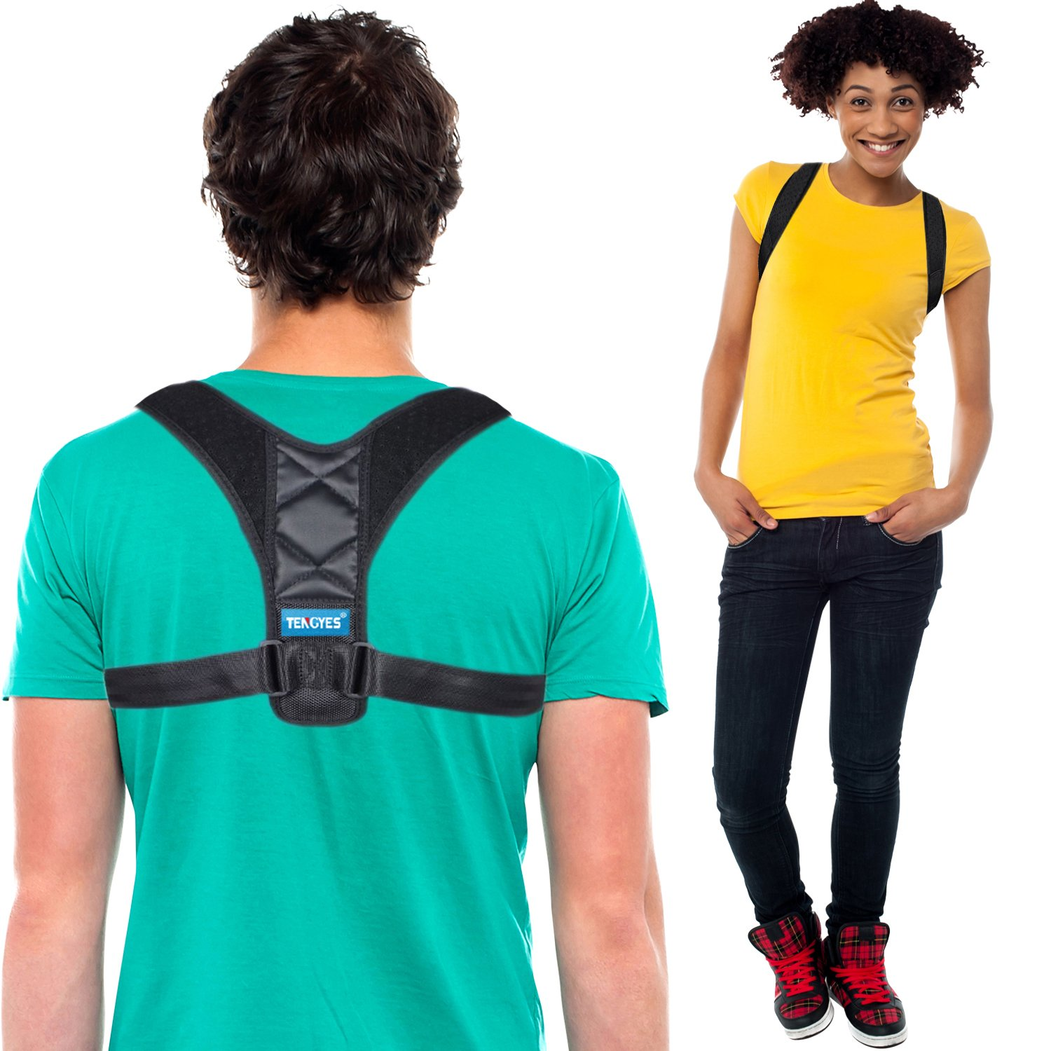 Back Brace Posture Corrector for Men Women - Effective and Comfortable Support Brace for Neck Upper Back Pain Relief Slouching & Hunching - Adjustable Clavicle Straightener FDA Approved