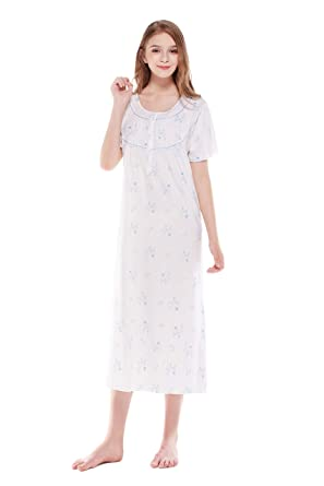 2ed803c078 Keyocean Nightgowns for Women All Cotton Sleepwear Short-Sleeve Long Women  Lounge-wear Nightdress