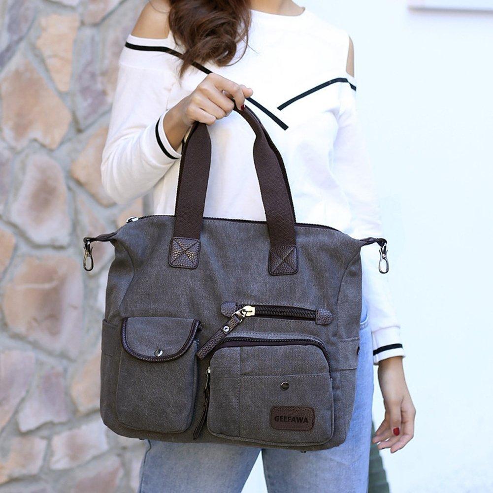 Women's Canvas Tote Bag Top Handle Bags Shoulder Handbag Tote Shopper Handbag crossbody bags (Black) by Greatbuy-US (Image #7)