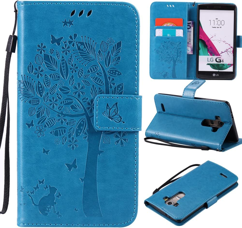 LG G3 Case ,Best Share Embossing Fashion Floral Countryside Pattern PU Leather Flip Stand Case Wallet Design Card Slot Kickstand Feature With Hand Strap Cover For LG G3 VS985 D850 D851 4G LT ,Blue