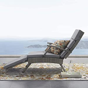 Modway Envisage Outdoor Patio Wicker Rattan Chaise Lounge in Light Gray Gray