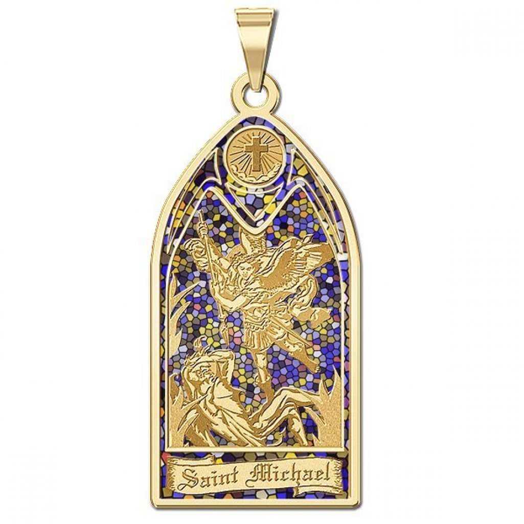 Saint Michael - Stained Glass Religious Medal - 2/3 Inch X 1-1/4 Inch -Solid 14K Yellow Gold