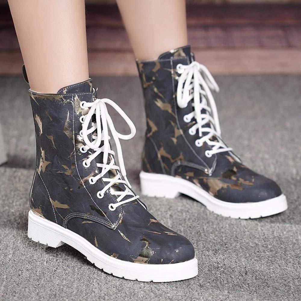 ZHRUI Damen Schuhe Schuhe Schuhe Frauen Elegant Stiefel Stiefeletten Platz Ferse Schuhe Martain Stiefel Leder Warm Round Toe Lace-Up Schuhe WinterStiefel (Farbe   Schwarz, Größe   36 EU) d2bd4d