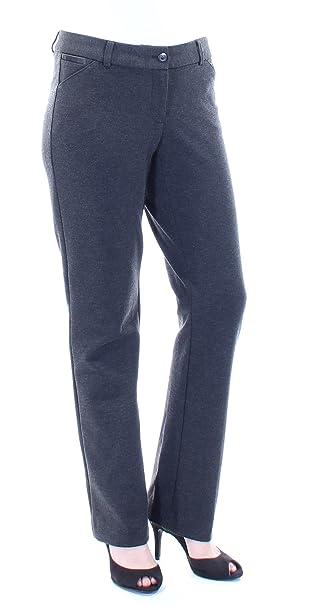 42d6282f702 Alfani Heathered Leather Trim Straight Leg Pants (Grey