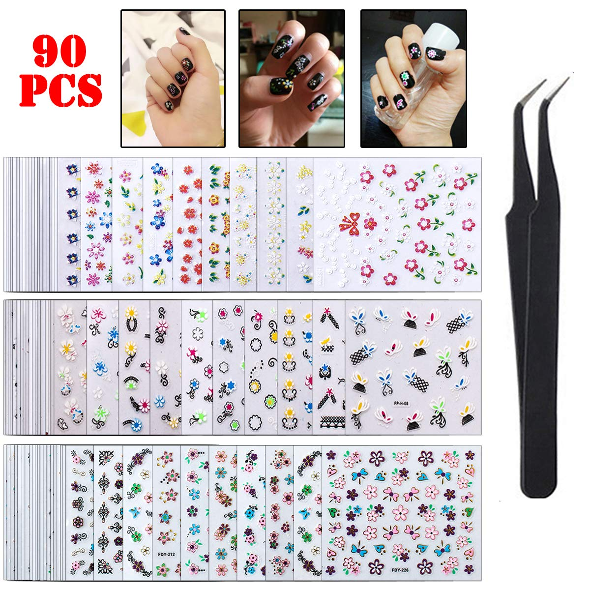 WOKOTO 90 Sheets Nail Art Stickers Tips Mix-Color Flower Design Adhesive Nail Decals 3D Manicure Decoration For Women With 1Pc Tweezers by WOKOTO