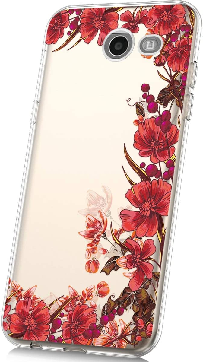 J7 Prime PHEZEN Galaxy J7 Sky Pro Case,Galaxy J7 V Case,Galaxy J7 2017 J7 Perx//Galaxy Halo Case,Clear Art Design Flexible Soft Gel Silicone TPU Case Bumper Protective Case Pink Rose Flower