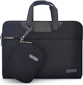 Cartinoe 15.6 inch Laptop Bag Waterproof Laptop Sleeve Bag with Pu Leather Handle Notebook Briefcase Carrying Case for Acer/Dell/Lenovo ASUS 15 inch, Travel/Business/College and Office, Black