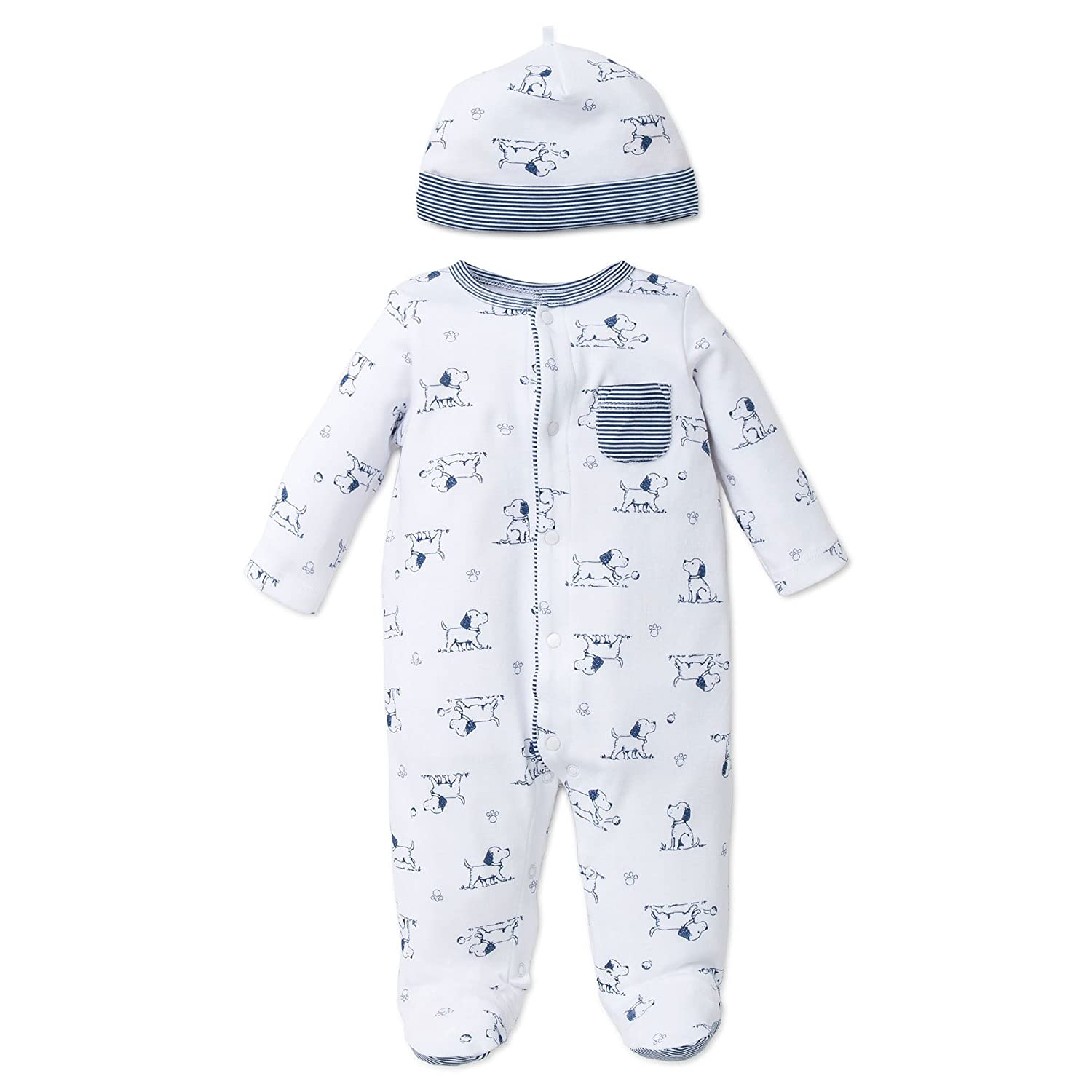 Little Me Boys 2-Piece Footie /& Cap Set