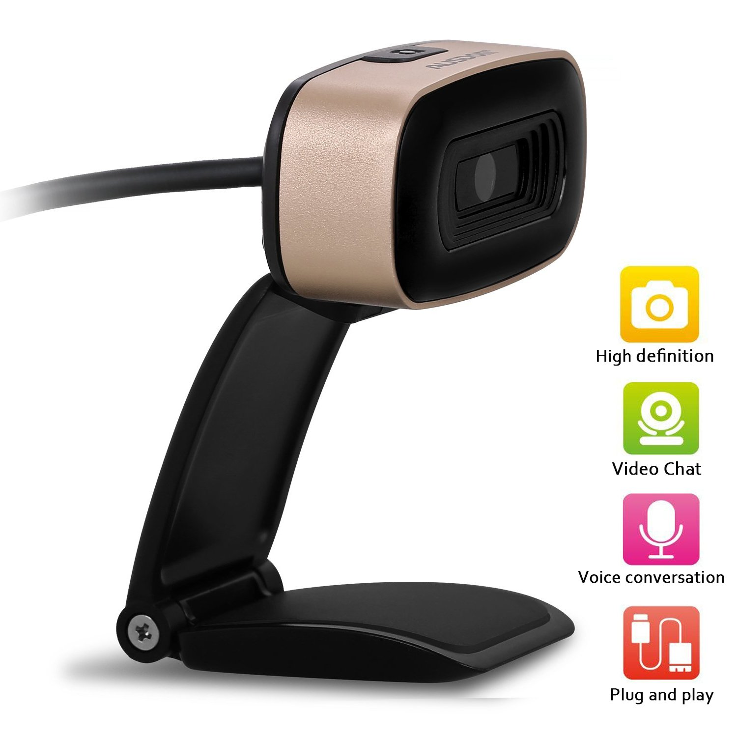 Ausdom HD Webcam, Widescreen 720P Web Camera with Built-in Noise Reduction Microphone for Video Calling and Recording, Desktop PC or Laptop USB Camera for Skype Facetime YouTube