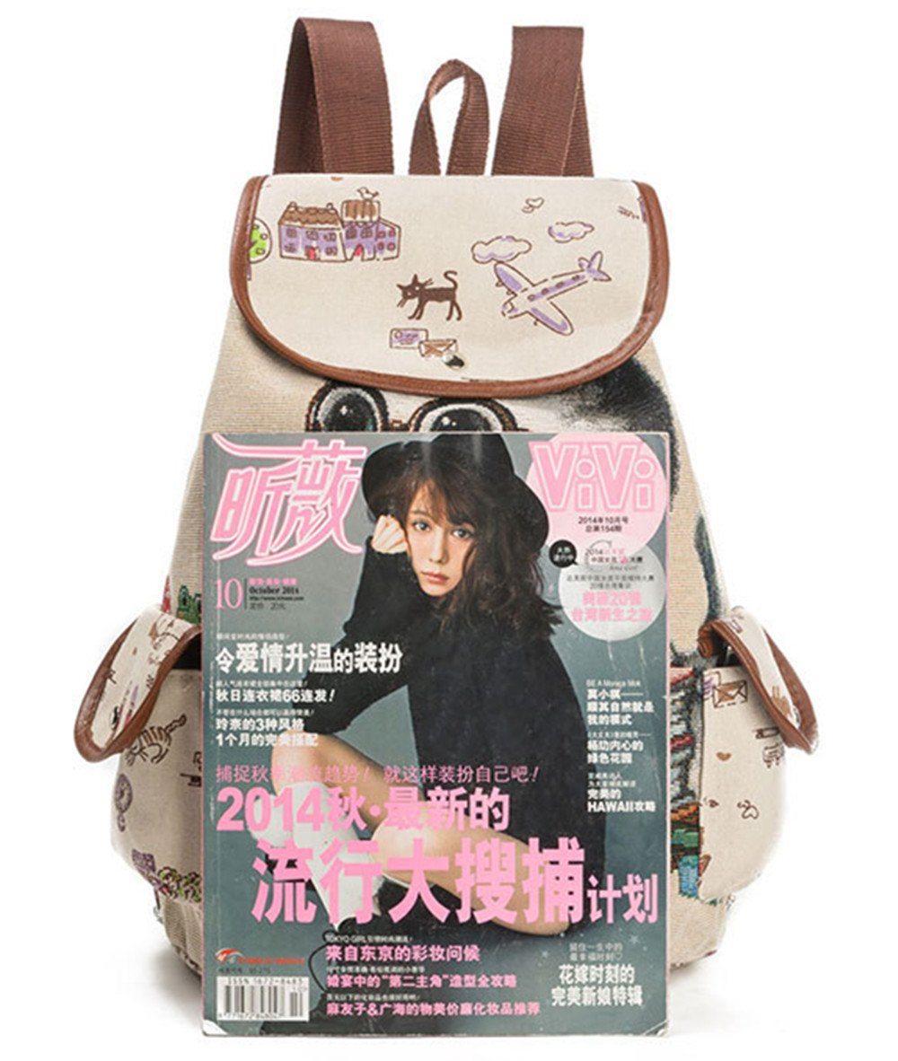 fc14b77993d2 KIDVOVOU Women Canvas Backpack Drawstring Knapsack Girls Casual Book Bag  Rucksack Outdoor Sports Daypack