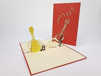 Música notas 3d Pop Up Tarjeta de felicitación hecha a mano feliz ...