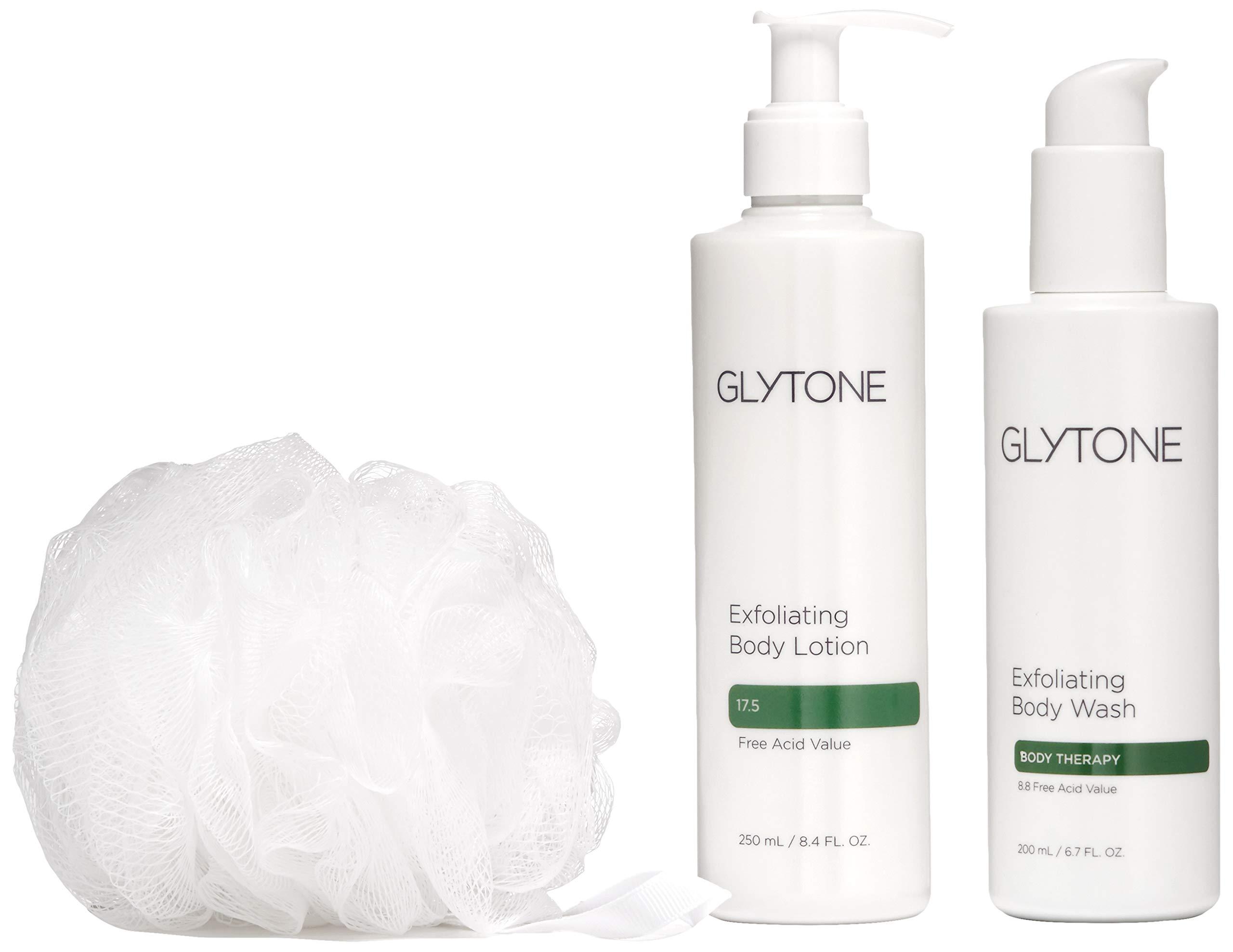 Glytone KP Kit Keratosis Pilaris - Exfoliating Body Wash, Lotion, Shower Pouf, Smooth Rough & Bumpy Skin, Chicken Skin, Fragrance-Free, Kit