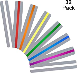 Chinco 32 Pieces Guided Reading Strips Highlight Strips Colored Overlays Colorful Bookmark - Helps with Dyslexia for Children and Teacher Teaching (Small)