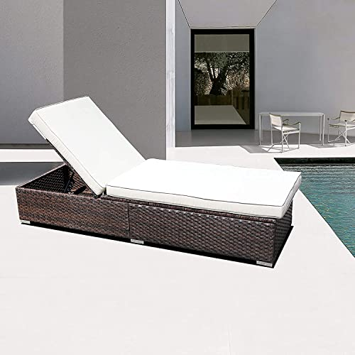 DIMAR Garden Outdoor Rattan Patio Chaise Lounge Reclining Chair Sunbed