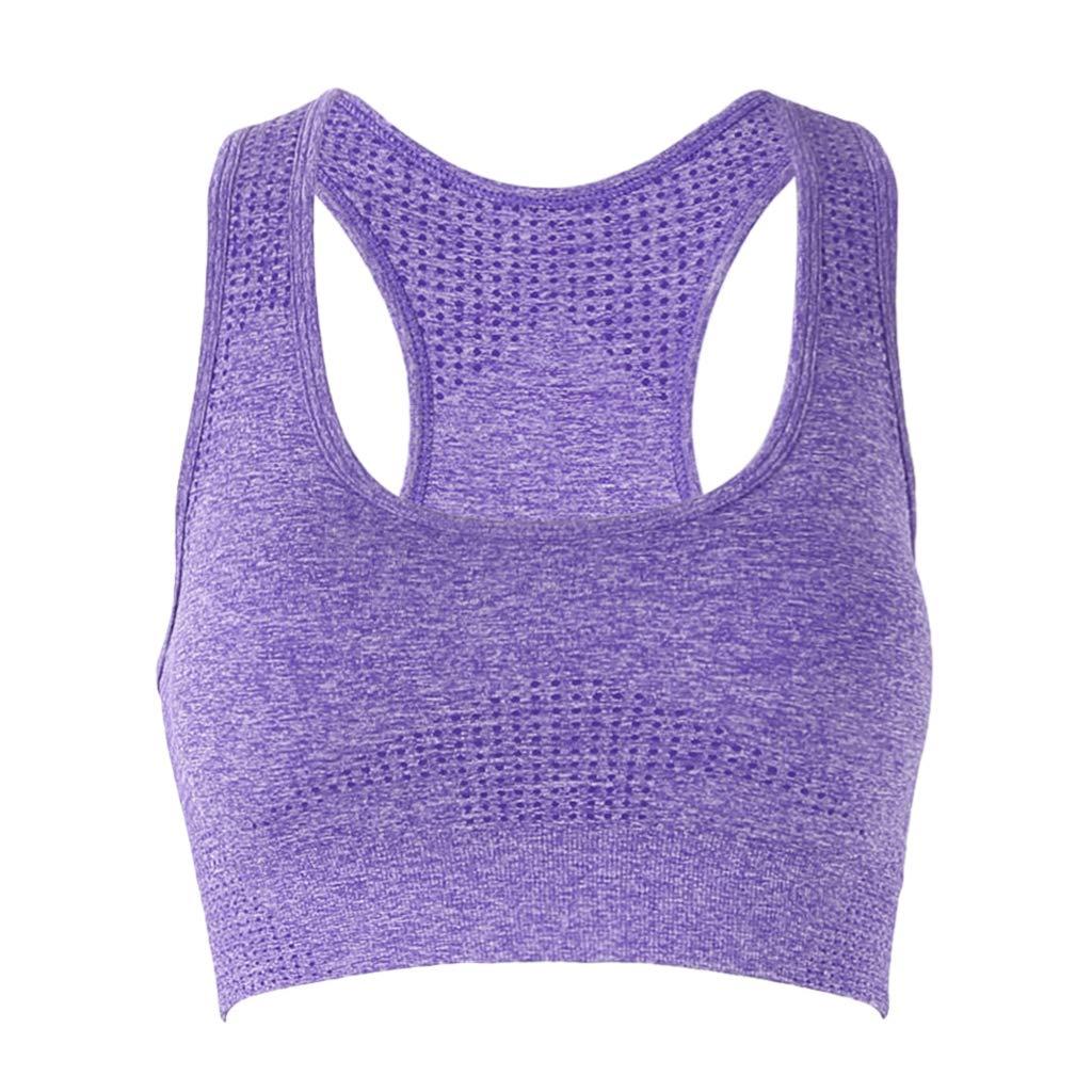 stoertuy 2PCS Ladies High Waist Tight Bottoming Sweatpants and Yoga Top Suit, Seamless U-Neck Sleeveless Pad Bra, Gym Running Jogging Push-ups Sports Clothes by stoertuy