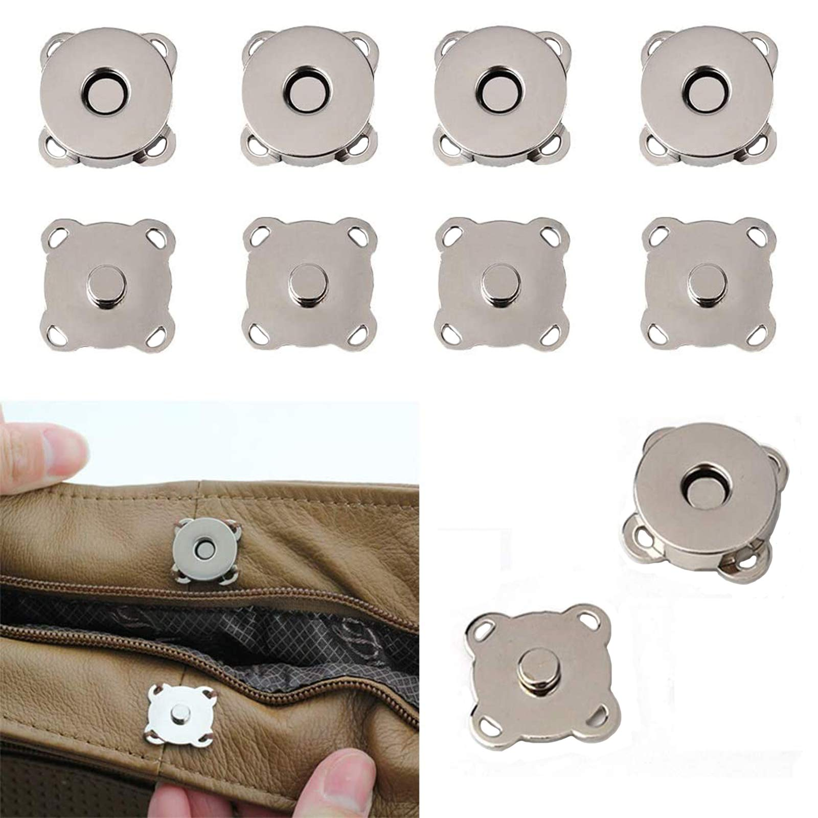 20 Sets Magnetic Snaps Button for Purse Handbag Wallet Overcoat Bag 19 mm Silver Fasteners Snap Buttons (19mm)
