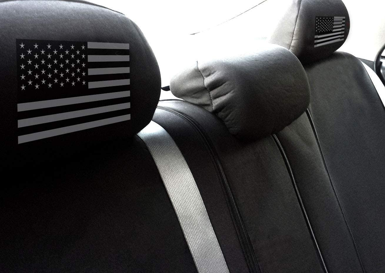 Car Truck SUV Seat Headrest Cover American Flag Design New Universal Size Black