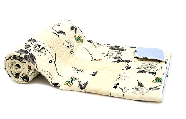 1001 Wohntraum 17JN16 Quilt Leni Blumen Vogel, 220 x 240 cm, Plaid Tagesdecke, Vintage Shabby Decke, Ranken beige