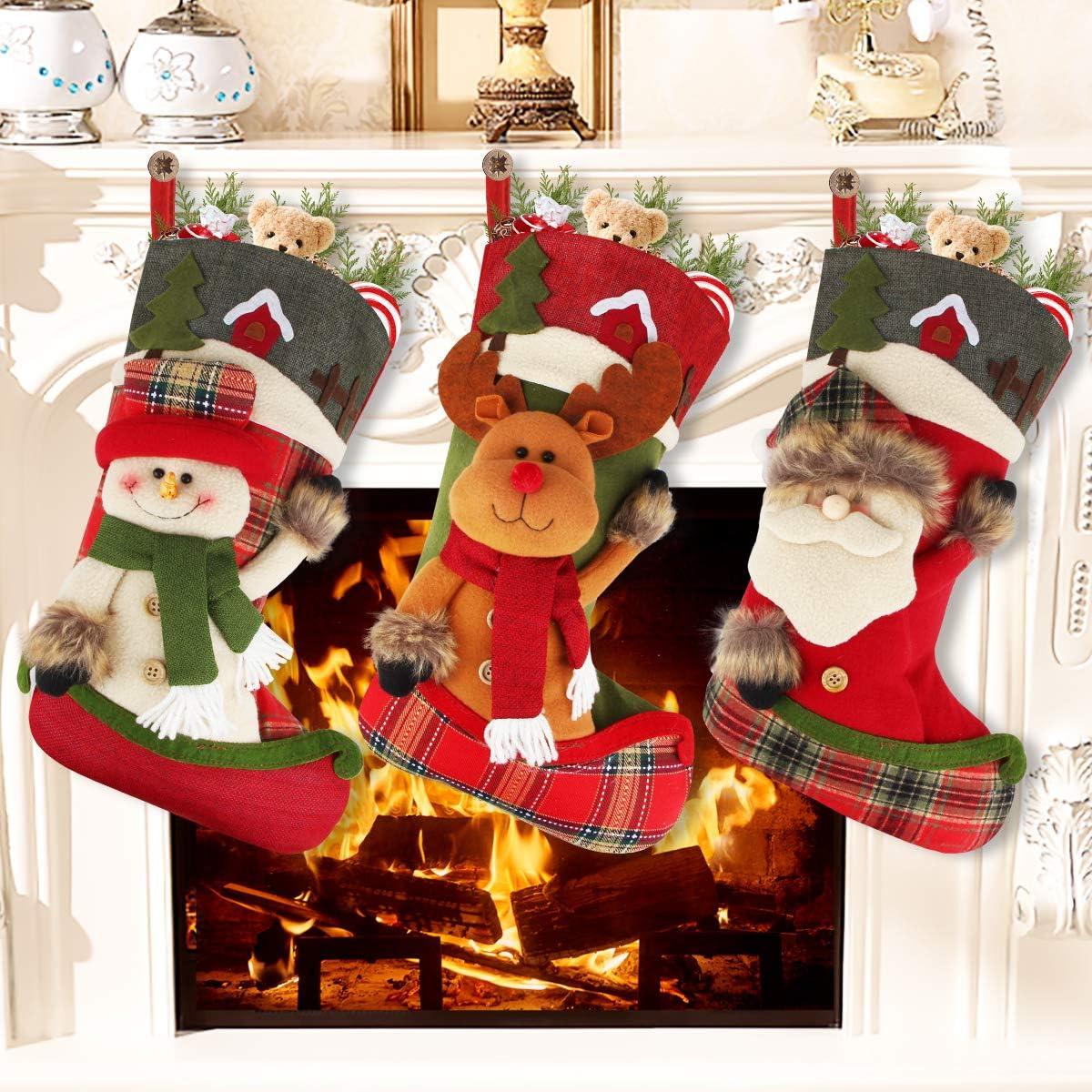 Aiduy Set of 3 Christmas Stockings Decoration with Cute 3D Plush Santa Snowman Reindeer Xmas Stockings for Christmas Tree Decorations Gifts and Home Decor, 18''