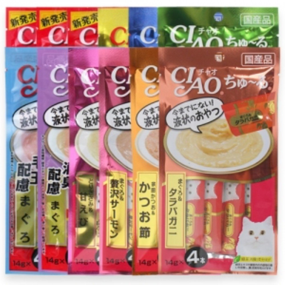 INABA CIAO Churu Cat Lickable Puree Creamy Cat Treat,12 Flavor Original Japan Cat Snacks 48 Tubes x 14 g (Variety (12 Pack)) by INABA