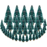 DECARETA 35 PCS Sisal Trees Mini Green Bottle Brush Trees with Wood Base Artificial Snow Frost Trees Ideal for Christmas…