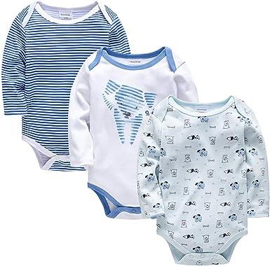 kavkas Body de Manga Larga para bebé algodón Suave, 3 Unidades, para niños y niñas, 0-24 Meses: Amazon.es: Ropa y accesorios