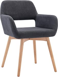 Lansen Furniture Modern Living Dining Room Accent Arm Chairs Club Guest with Solid Wood Legs (1, Dark Grey)