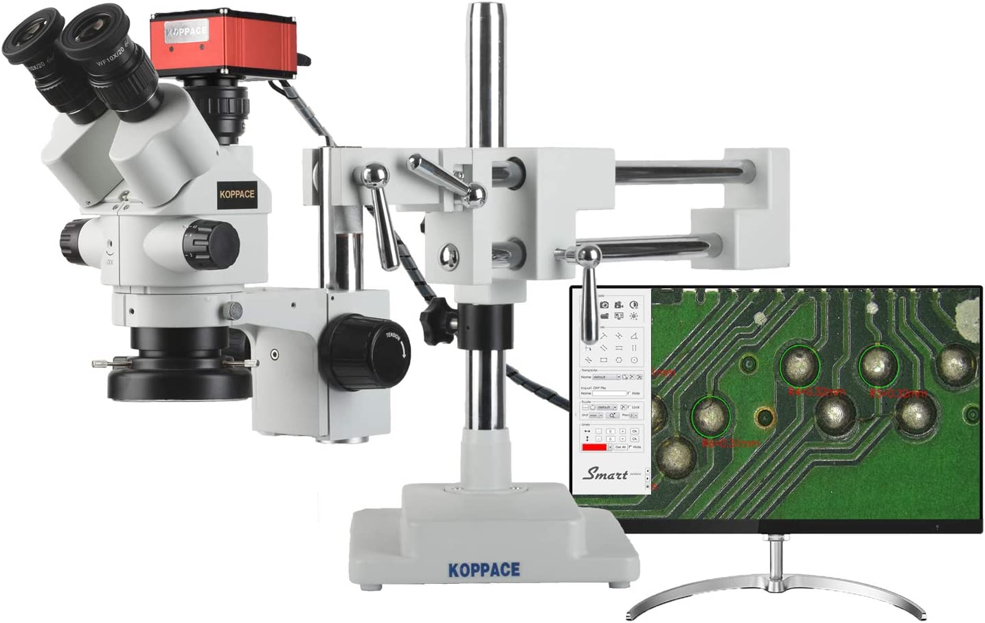 KOPPACE 4K HD Stereo Measurement Microscope 3.5X-180X 4K Pictures and Videos Dual arm Bracket Electron Microscope