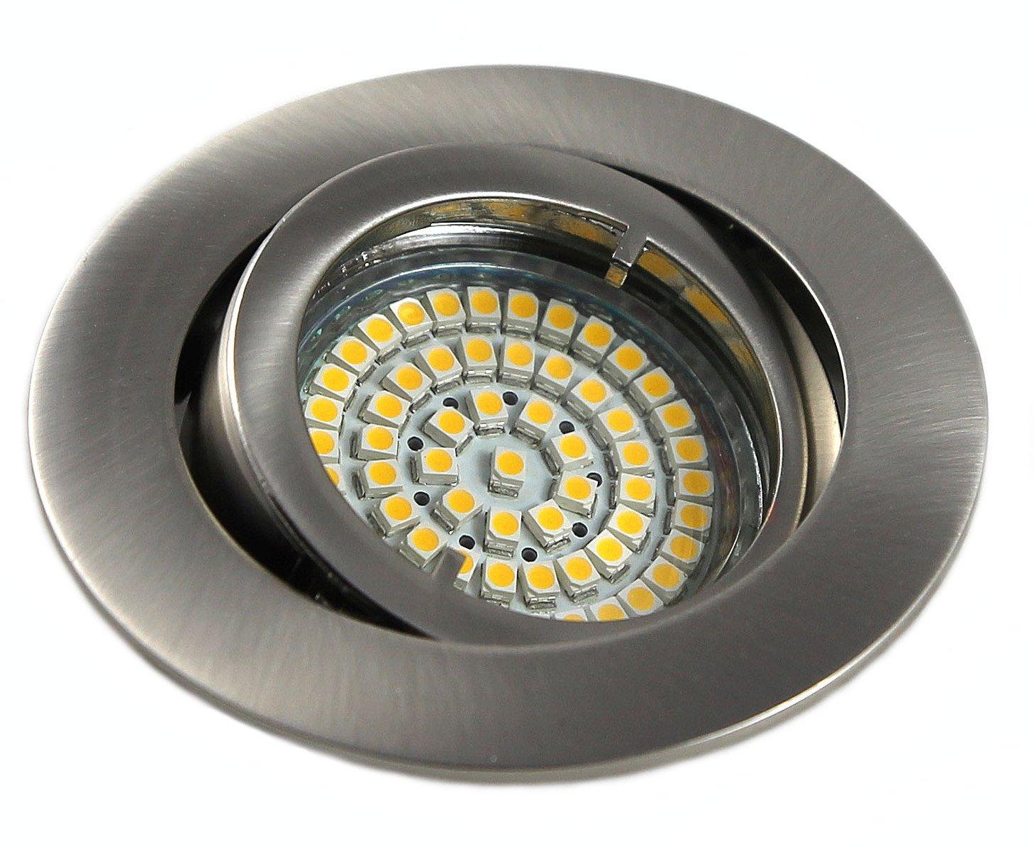 10er Set 230Volt LED SMD Einbaustrahler Lino. Spot in Farbe: Edelstahl gebürstet inkl. GU10 60er SMD Leuchtmittel Lichtfarbe: Kaltweiß 6000K + Fassung 3Watt = 25Watt .Downlights [Energieklasse A+]