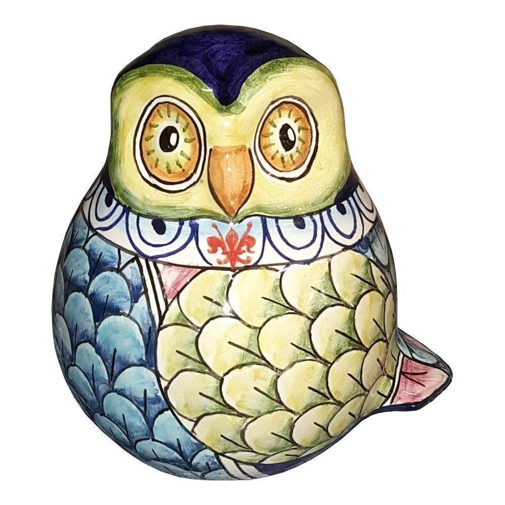 CERAMICHE D'ARTE PARRINI - Italian Ceramic Animals Owl Figurine Hand Painted Pottery Decorated Deruta Floreal Made in ITALY Tuscan