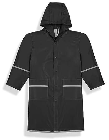 2bfc64f9a20 Fabugears Boys/Girls Kids/Juniors Rain Coat with Reflector, Full Length  Long Hooded S (5-6) Black