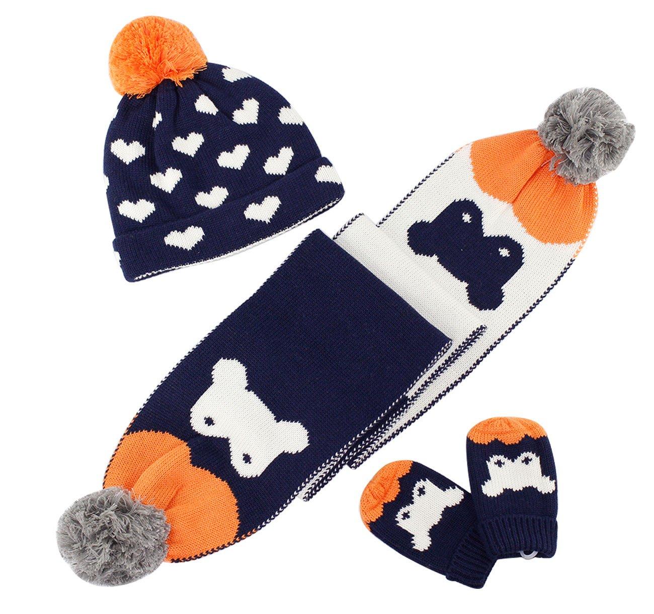 Autumn Winter Warm Kids Knit Beanie Scarf Gloves Suit Heart Jacquard and Cartoon Patterns Baby Hat Scarf Gloves Set Dark Blue 6-12 Months RUHI