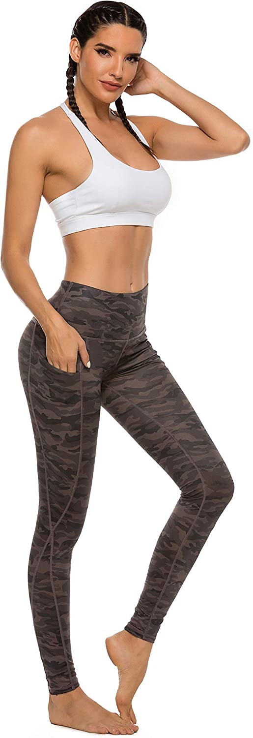 Green Camo,S AUU Womens High Waisted Pattern Camo Workout Yoga Leggings Yoga Pants