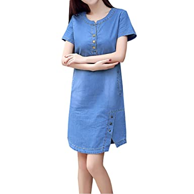 Omuutr Damen Sommer Jeanskleid Blusenkleid Jeanskleid Mit Knopf