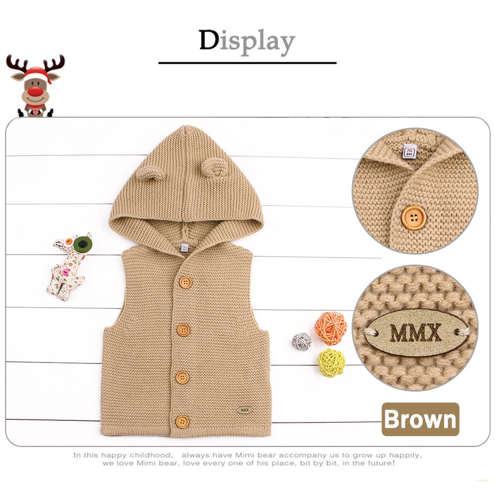 ca8b71e46 MMX Baby Infant Hooded Sweater Sleeveless Cardigan Button Up Jacket ...