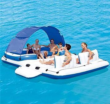 ZXH Juguete Inflable Flotante de la relajación del Juguete de la natación del Flotador de la Piscina de la Isla Flotante (390 * 270CM): Amazon.es: Hogar