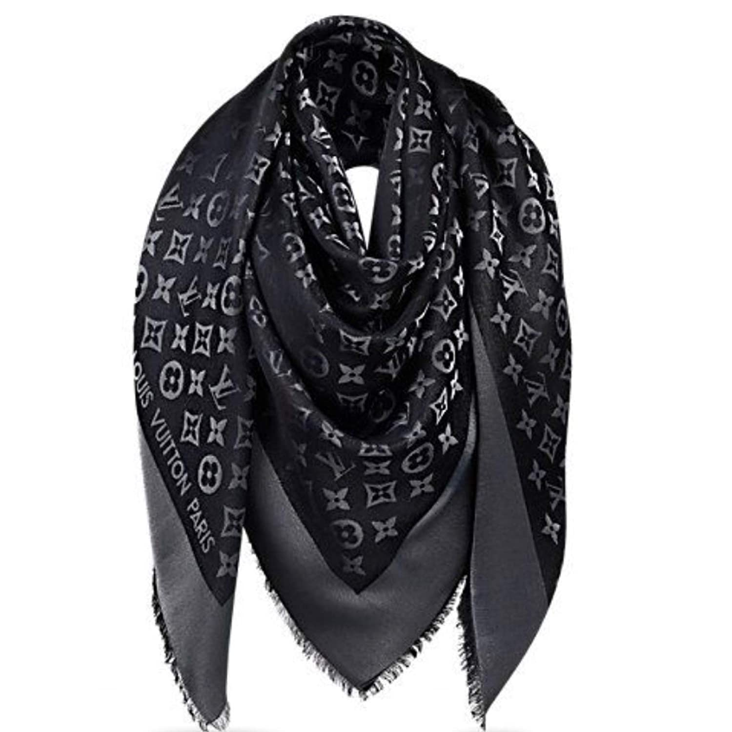 ddc7b552b308c Designer Inspired Monogram Denim Shawl in Black Scarf -Wrap Imitation  Designer Replica Luxurious High End Quality Fabric Fashion Accessory Large  ...
