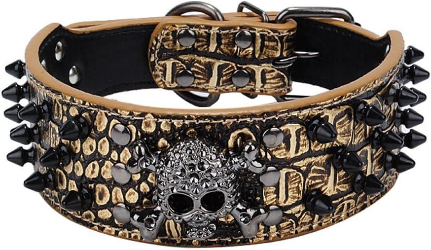 OCSOSO - collar de perro ajustable, de piel sintética, con pinchos, estilo Metal Punk, para Perros pequeños o medianos, 5.10 cm de ancho