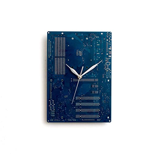 Large Blue Wall Clock Circuit Board Original Unique Gift Boyfriend
