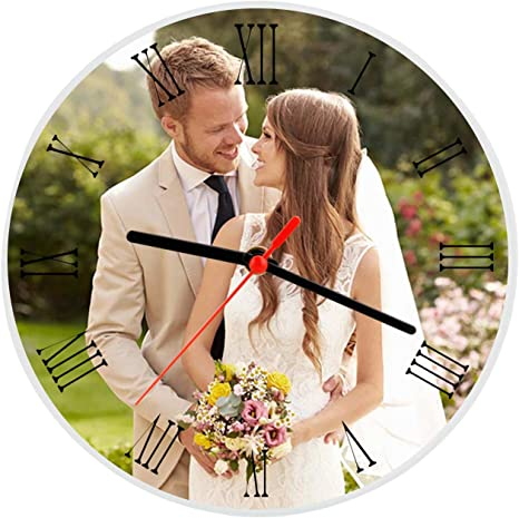 Amazon Com Moonlove Personalized Crystal Glass Photo Frame Plaque Photo Print Desktop Round Picture Frames With Time Clock Customized Birthday Wedding Valentine S Day Christmas Photo Gift