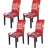 Christmas Dining Chair Covers, Spandex Stretch Removable Washable Dining Chair Protector Slipcovers, Parsons Chair Cover…