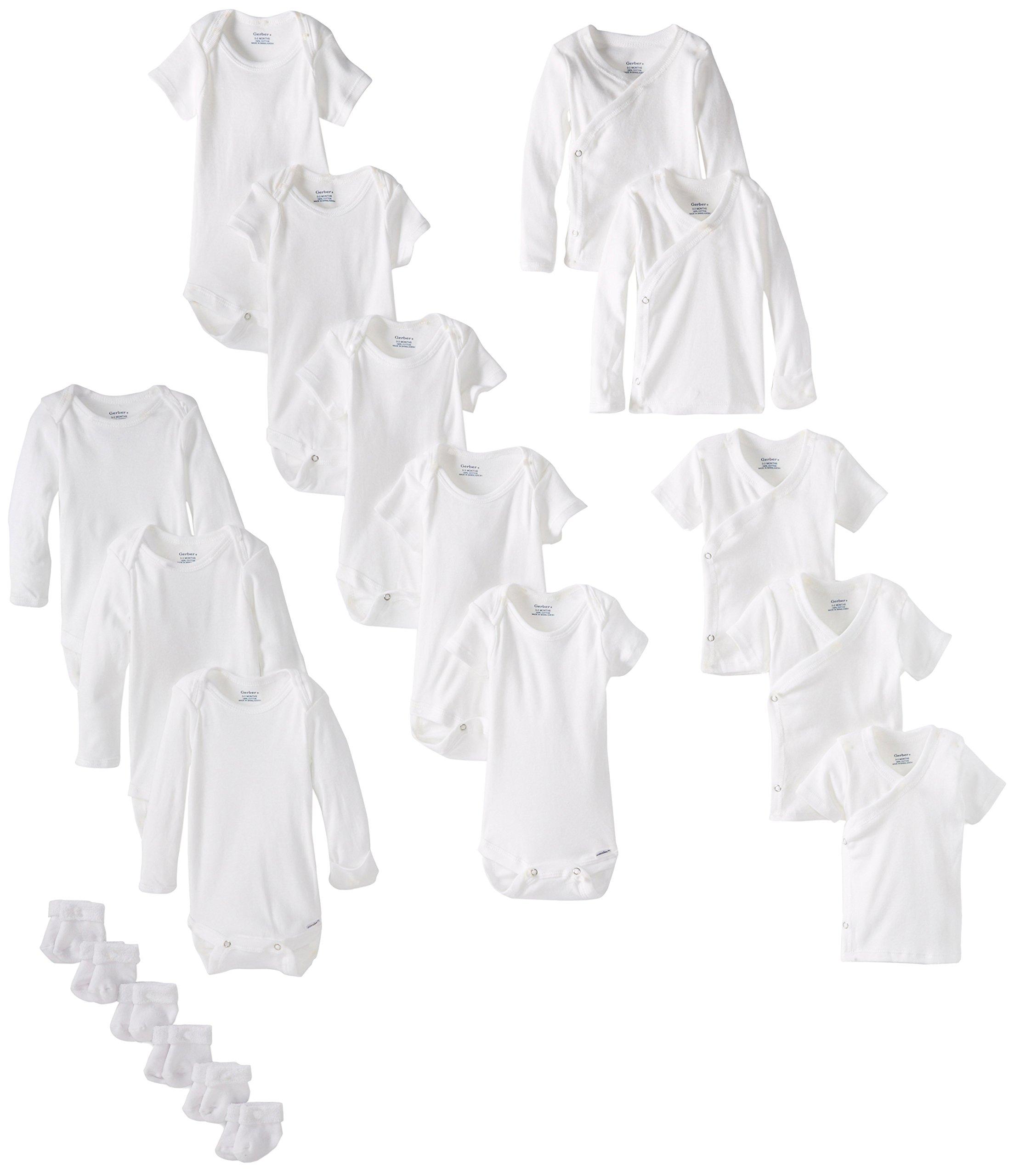 Gerber Baby Unisex' 19 Piece Baby Essentials Gift Set, White, 0-3 months