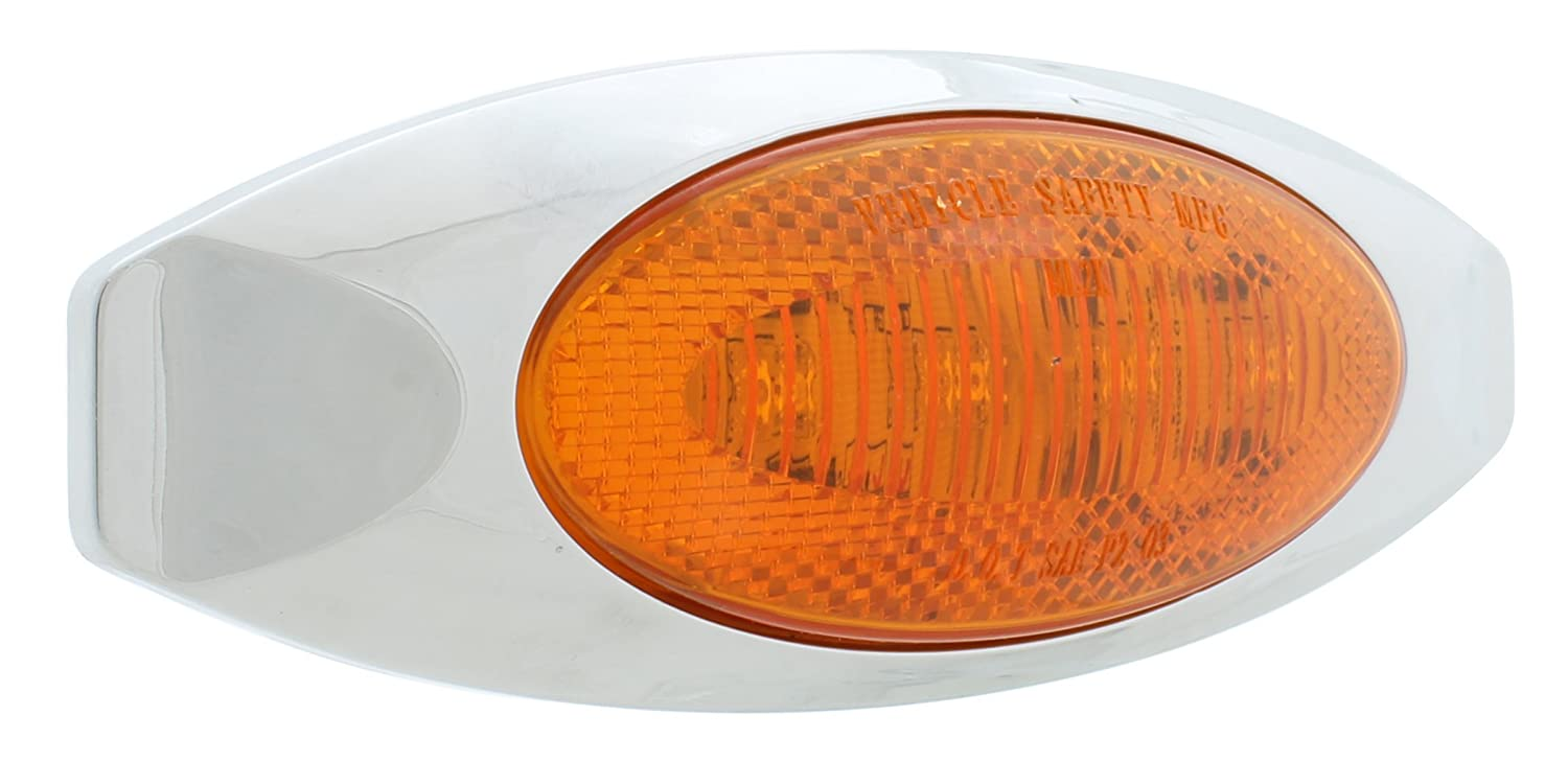 Vehicle Safety Manufacturing 2015A ML2K Amber LED Reflex Marker Lamp with Chrome Bezel