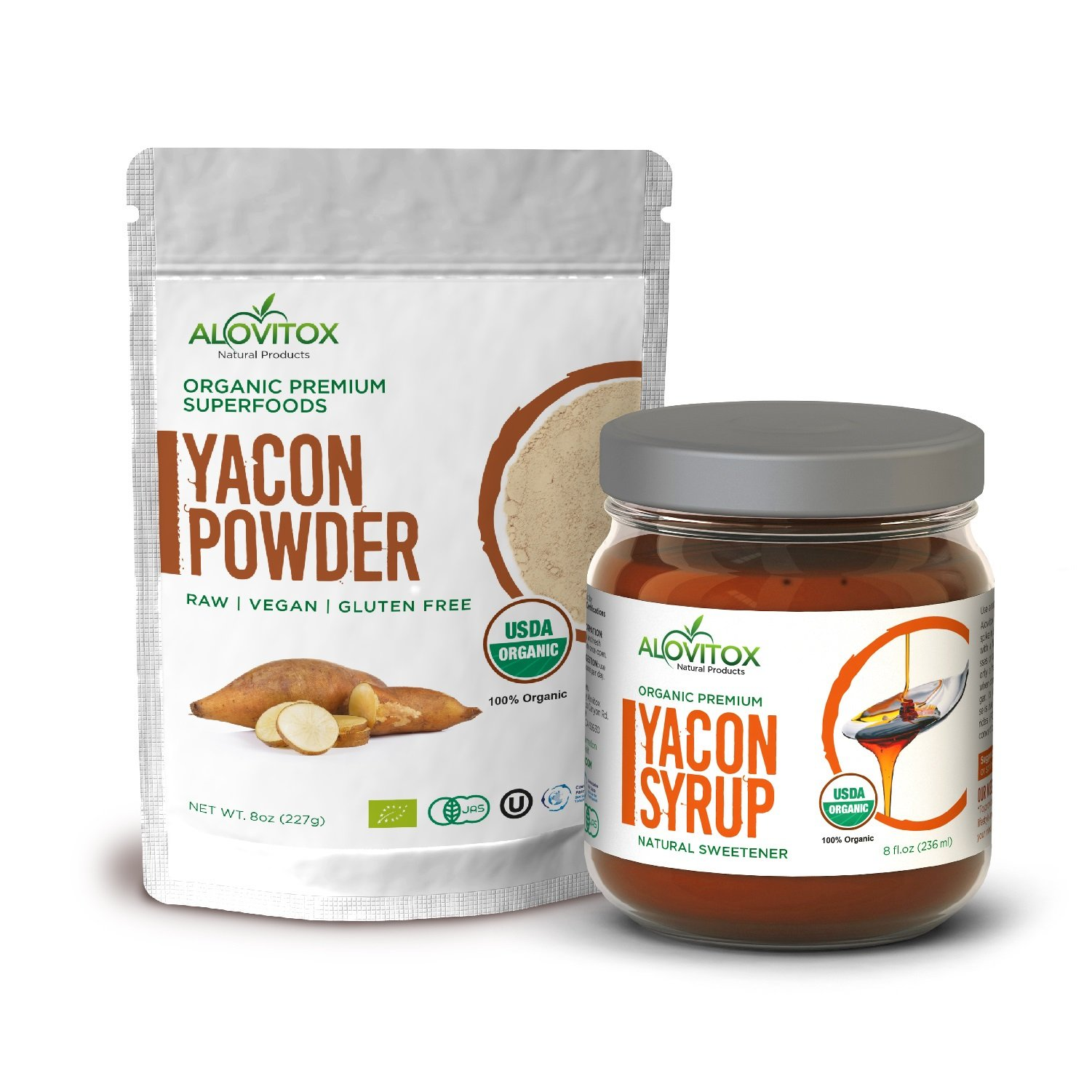 Yacon Syrup & Powder Pack - All Natural Sweetener - Sugar Substitue - USDA Certified Organic - Raw Vegan Gluten Free by Alovitox