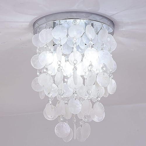 HAIXIANG 3 Lights Mini Chandelier Modern Crystal Flush Mount Ceiling Light Fixtures Lighting for Bedroom,Hallway,Closet,Girls Room,White Shell D cor
