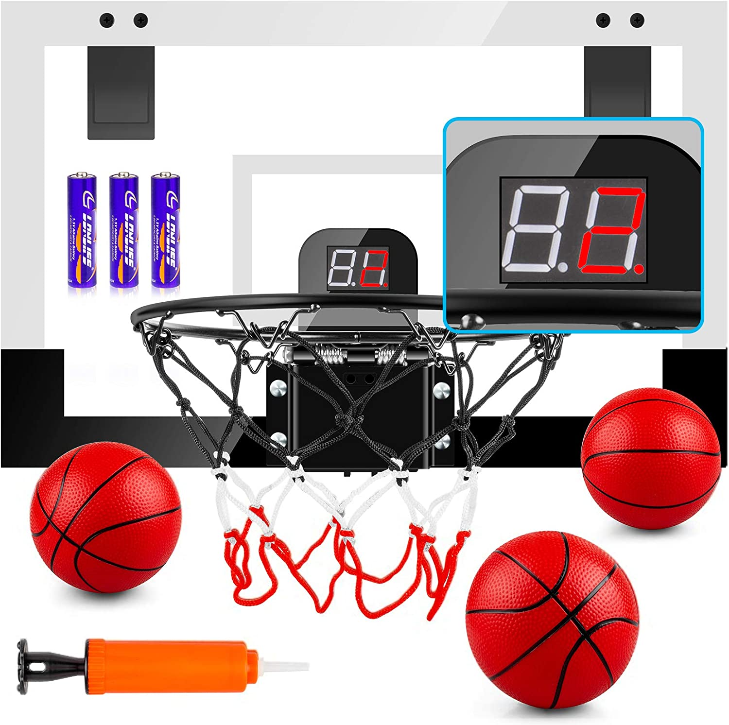 """TREYWELL Indoor Mini Basketball Hoop for Kids and Adults, 17""""X13"""" Basketball Set for Door Wall Room with 3 Balls & Electronic Scoreboard - Basketball Toy Gifts for Boys Girls Teens"""