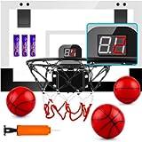 TREYWELL Indoor Mini Basketball Hoop for Kids and Adults, 17'X13' Basketball Set for Door Wall Room with 3 Balls…